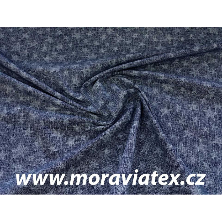 Teplákovina tm.modrý potisk Jeans denim s hvězdami, rub POČES