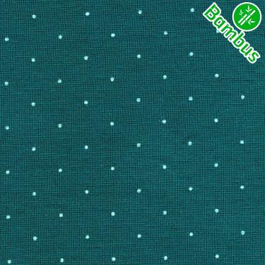 Jednolíc elastický BAMBUS Vis./Lycra8% tmavý smaragd 0207151 drobné puntíčky