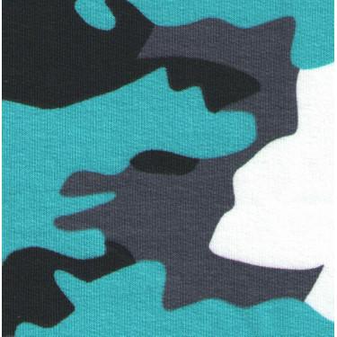 Jednolíc elastický 8%Lycra potisk maskáč bílo/černo/šedo/mořský