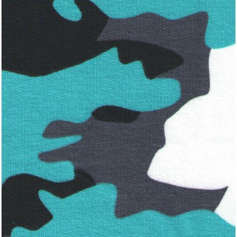 Výplněk elastický potisk maskáč bílo/černo/šedo/mořský