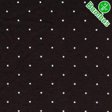 Jednolíc elastický BAMBUS Vis./Lycra8% černý drobné puntíčky