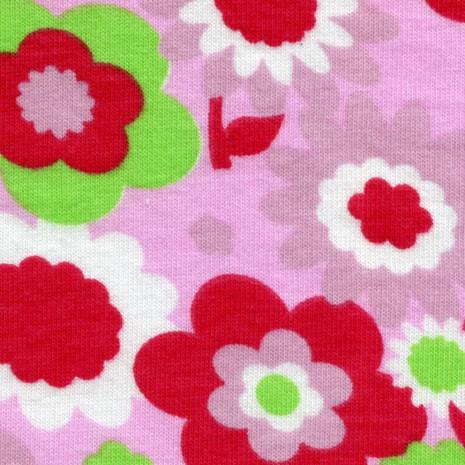 Jednolíc elastický 4%Lycra flowers kytičky malina/růžové