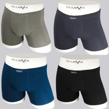 Pánské boxerky REMIXX jednobarevné - sada4ks mix barvy
